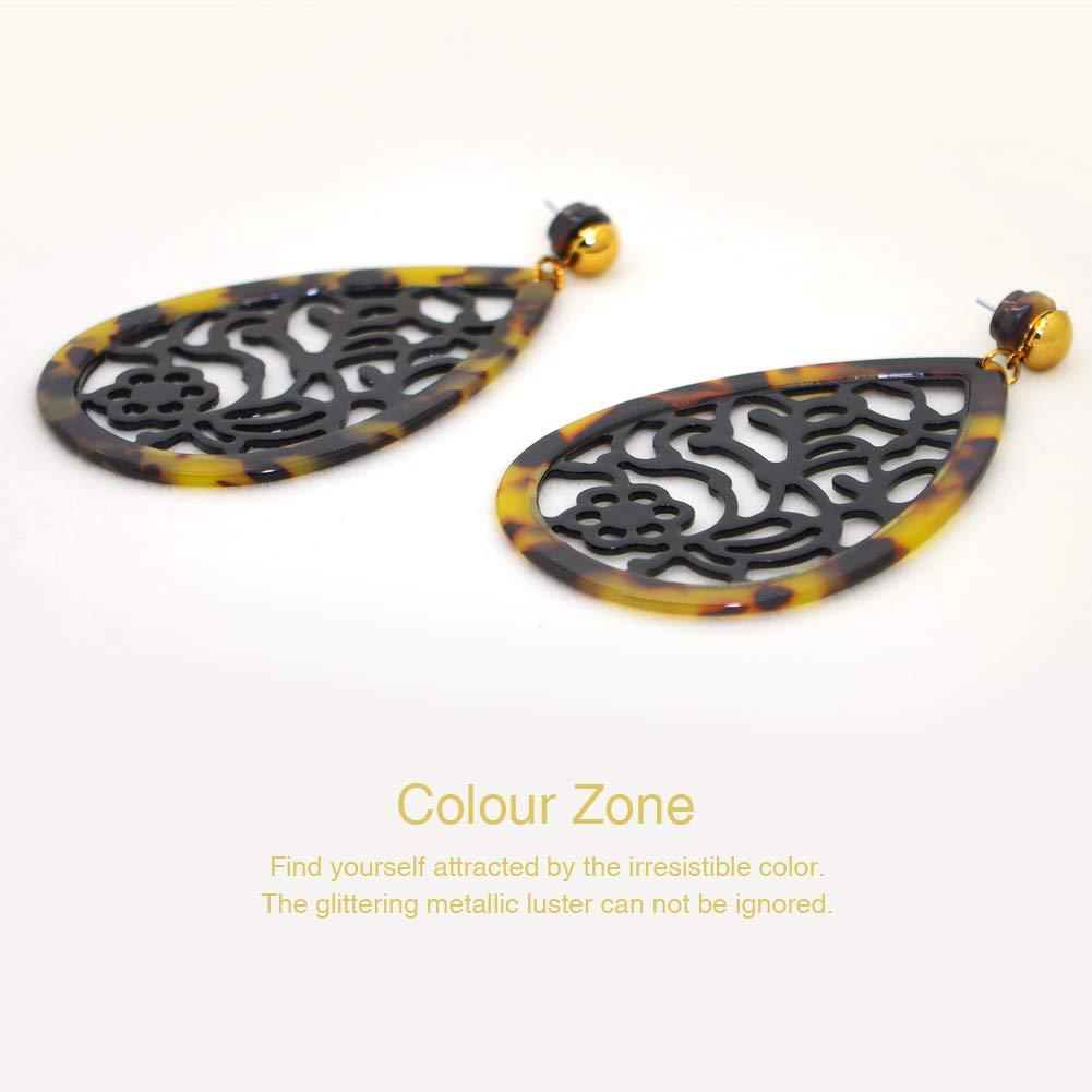 Crylic Earrings,Filigree Tree Leaf Lightweight Cutout Crylic Dangles Drop Earrings for Women(Leopard Print)