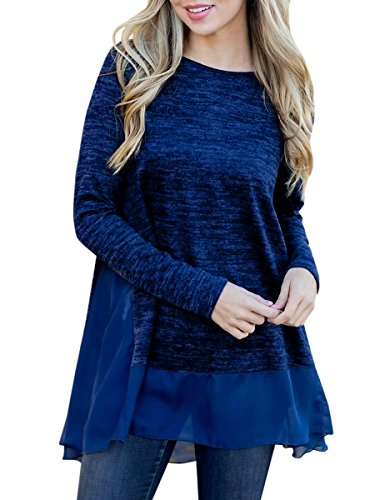 0f2445db272 GAMISOTE Womens Dressy Tops Long Sleeve Casual Flowy Mesh Patchwork T Shirt  With Pockets