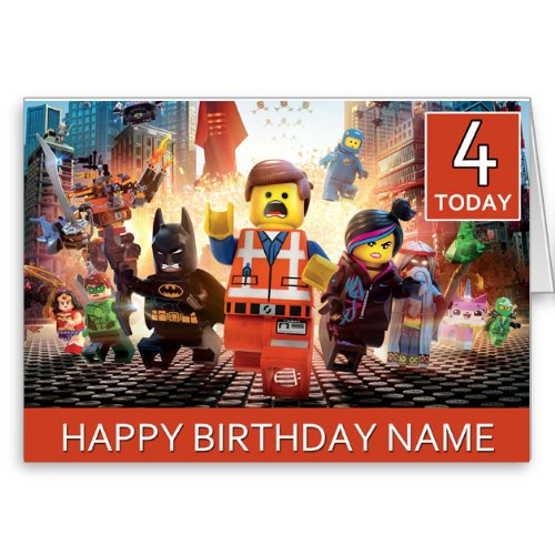 Personalised Lego Movie Birthday Card Amazon Kitchen Home