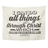 TOMPOP Tapestry Bible Lettering Christian I Can Do All Things Through Christ Which Strengtheneth Me Philippians 4 13 Home Decor Wall Hanging for Living Room Bedroom Dorm 60x80 Inches