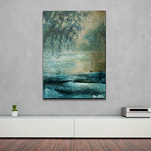 Ready2HangArt XXVIII Abstract Modern Contemporary Canvas Wall Art Print, 40 x 30 , Blue, Green
