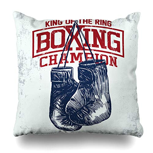 Training Pillow Throw (Pandarllin Throw Pillow Cover Letter Gym Vintage Boxing Gloves Kid Boy Sport Training Cushion Case Home Decor Design Square Size 18 x 18 Inches Pillowcase)