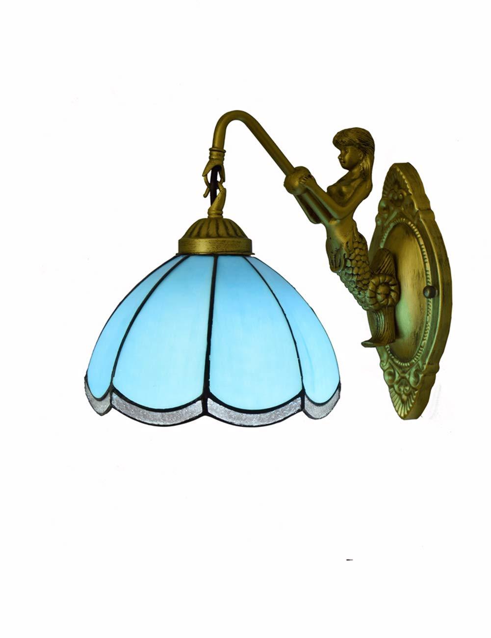 DLewiee Vintage Wandleuchte Leuchte Glasmalerei 8 Zoll Bronze und Kunstglas Schatten