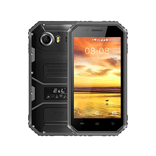 E&L W6 Unlocked Rugged Cell phone with Waterproof IP68 Dual SIM 4G Rugged Android 6.0 Smartphone for Outdoors Military Grade Phone Support Carriers(AT&T And T-Mobile Verizon) (Gray)