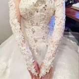 DeemoShop Bride Hollow Lace Wedding Gloves Lengthened Bridal Gloves Red White Ivory Fingerless Long Wedding Accessories