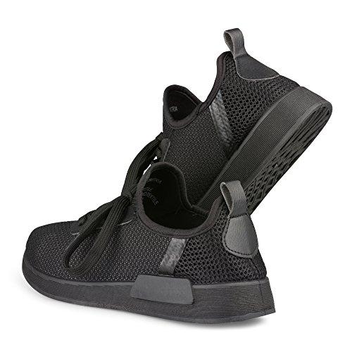 Twisted Damen Dimitria Lightweight Mesh sportlich Mode Sneaker Schwarz Schwarz