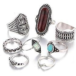 Creazy 8PCS Vintage Women's Boho Crystal Flower Knuckle Ring Tibetan Turkish (Silver)