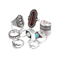 Creazy 8PCS Vintage Women's Boho Crystal Flower Knuckle Ring Tibetan Turkish