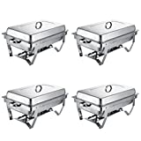 VEVOR Set of 4 Chafing Dish 8 Quart Chafing Dish Buffet Set Full Size Stainless Steel Chafing Dish with Folding Frame for Kitchen Party Dining (Set of 4)