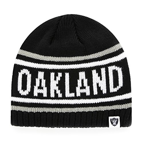 (NFL Oakland Raiders Thorsby OTS Beanie Knit Cap, Black, One Size)