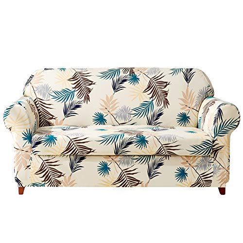 Subrtex 2-Piece Leaves Printed Stretch Sofa Slipcovers