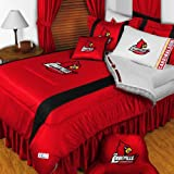 Louisville Cardinals 4 Pc QUEEN Comforter Set (Comforter, 2 Shams, 1 Bedskirt) - AND Matching Shower Curtain - DECORATE YOUR BEDROOM AND BATHROOM!