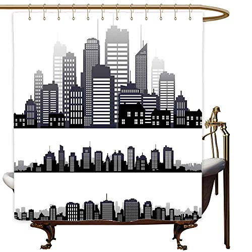 MaryMunger Polyester Shower Curtain City Silhouette Long Buildings Skyline Real Estate Pattern Architecture Inspirations goof Proof Shower W48x72L Black Grey White -