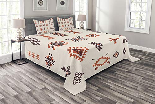 - Ambesonne Native American Bedspread Set King Size, Illustration of Aztec Culture Pattern Tribal Design Geometric Print, 3 Piece Decorative Quilted Coverlet with 2 Pillow Shams, Orange and Brown