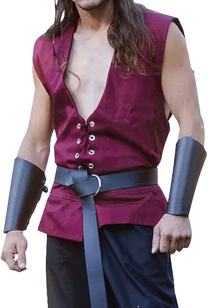 Mens Medieval Pirate Shirt Sleeveless Costume Viking V Neck Renaissance Casual Drawstring Halloween Tank Top Vest