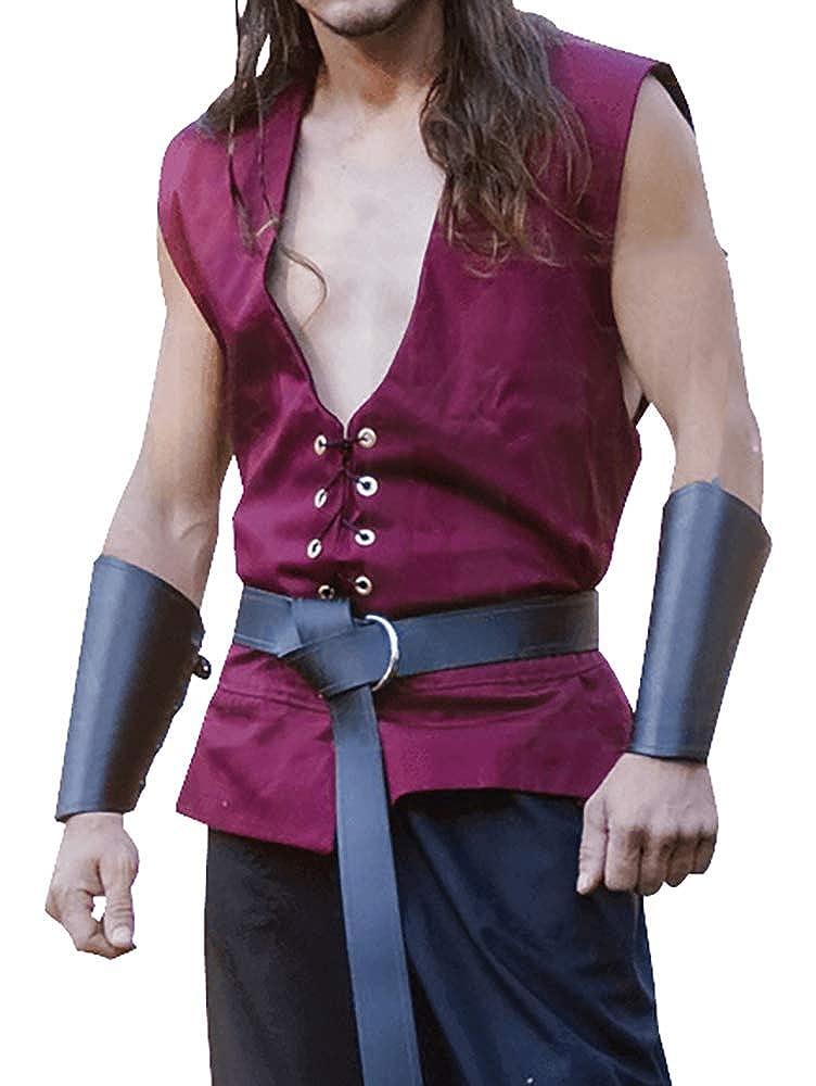 Mens Medieval Lace Up Tank Tops Renaissance Viking Pirate Sleeveless T Shirt Scottish Knight Cosplay Costume Vest