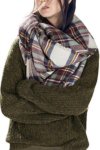 Dora Bridal Lady Women Blanket Oversized Tartan Scarf Wrap Shawl Plaid Cozy Checked Pashmina (One Size, Brown)