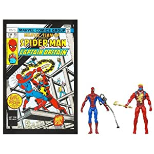 Marvel Universe Spider-Man and Captain Britain Figure Comic Pack 4 Inches