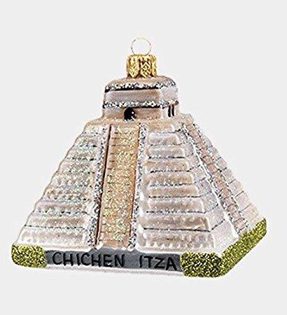 Chichen Itza Mayan Temple Mexico - Blown Glass Ornament - Made in Poland