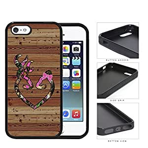 Pink HEART with BOW Deer Buck Browning Camo Oak BROWN Color Wood #13 iPhone 5 5s Rubber Silicone TPU Cell Phone Case