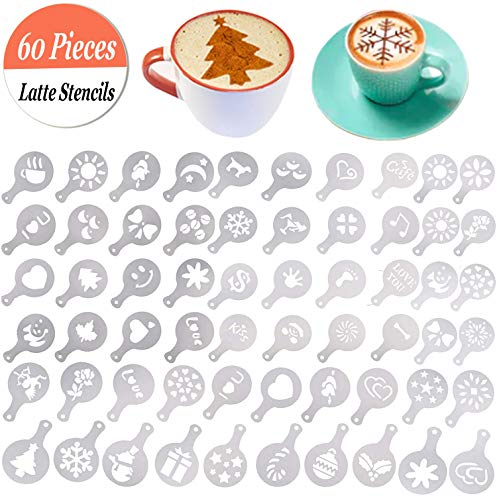 Buytra 60 Pack Barista Coffee Stencils Latte Art Stencils Cappuccino Stencils Templates for Coffee Decorating, Cookie Icing, Cake, Cupcake Decor | Food Grade PP, Easy to Clean, Various -