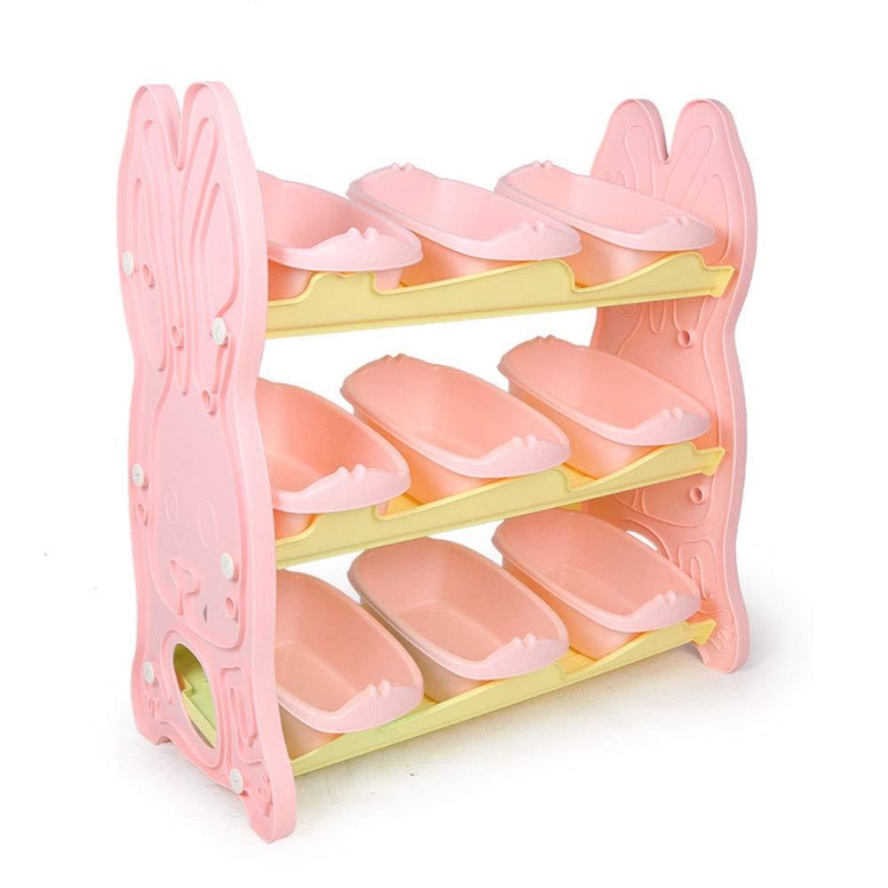 アルバム本棚 子供のおもちゃプラスチックビン収納ボックス棚引き出し収納オーガナイザー 子供用おもちゃ収納ラック (色 : ピンク, サイズ : Storage box) B07QC6QRJF ピンク Storage box