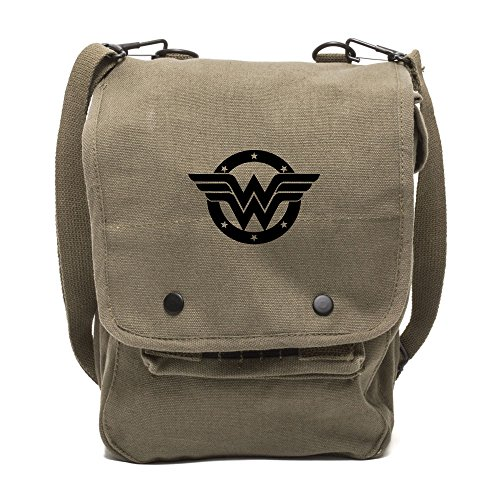 Grab A Smile Wonder Woman Logo Canvas Crossbody Travel Map Bag Case in Olive & Black