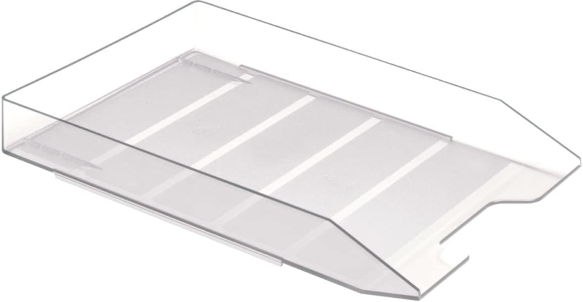 Acrimet Stackable Front Load Letter Size Tray Plastic Desktop File Organizer (Crystal Color) (1 Unit)
