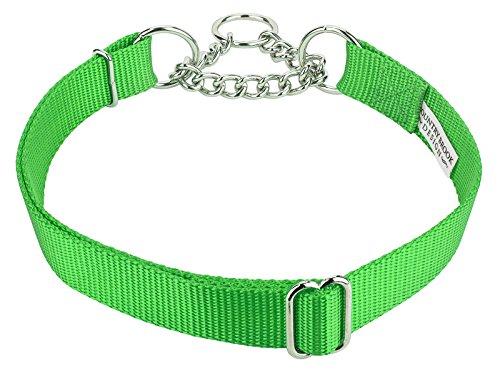 Country Brook Design | Half Check Nylon Dog Collars-Hot Lime Green-M