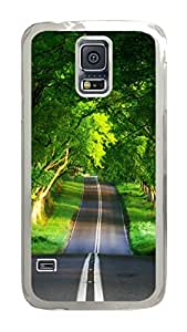 VUTTOO Rugged Samsung Galaxy S5 Case, Trees Canopy Road Hardshell Case for Samsung Galaxy S5 I9600 PC Transparent