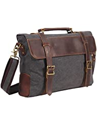 DesertWolf Vintage Canvas Messenger Bag - Leather Shoulder Bag - Traveling Briefcase - Fit 14 Laptop