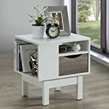 Flash Furniture St. Claire Collection End Table in White Finish with Oak Wood Grain Drawer