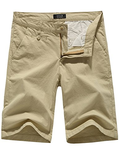 SSLR Men's Linen Feeling Classic Fit Flat Front Casual Shorts (34, Beige)