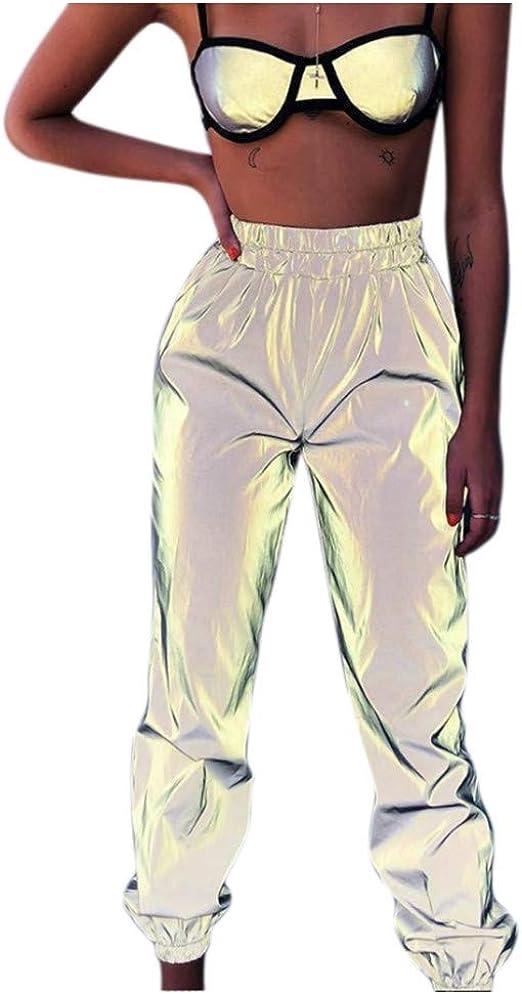Amazon Com Pantalones Reflectantes Para Hombre Y Mujer Con Bolsillos Para Fiesta De Deporte Casual Clothing