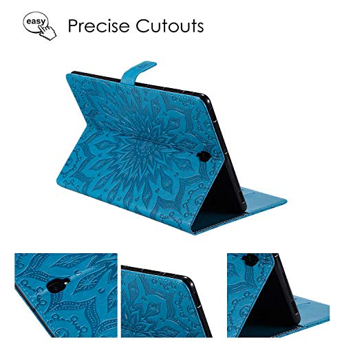APOLL Embossed Case for Samsung Galaxy Tab S4 10.5 Model SM-T830/T835 2018 Release, PU Leather Folding Stand Wallet Pocket Slimshell Protective Case for Galaxy Tab S4 10.5, Embossed Sunflower Blue