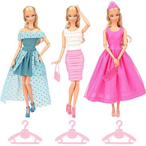 [해외]BARWA Lot 13 Items = 3 Sets Fashion Casual Clothes Outfit Party Dress with 10 Accessories Bags Shoes Hangers Crown for 11.5 inch Girl Doll Xmas Gift / BARWA Lot 13 Items = 3 Sets Fashion Casual Clothes Outfit Party Dress with 10 Ac...