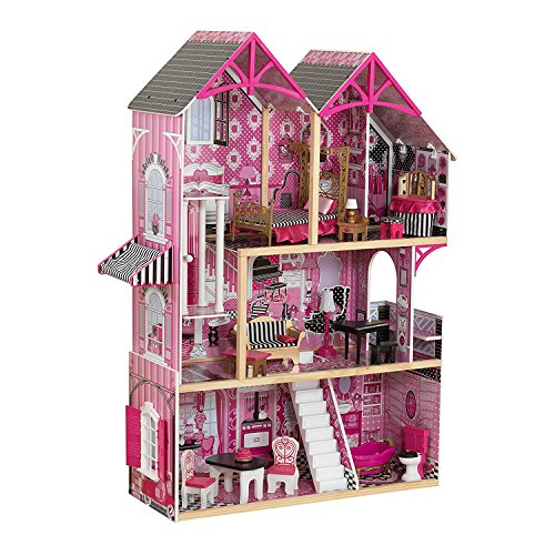 KidKraft 3-Level 5-Room Pink Wooden Bella Dollhouse with 16 Pieces of Furniture (3+ Years)