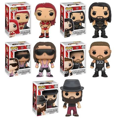 Pop! WWE Eva Marie, Seth Rollins, Bret Hart, Kevin Owens, and Bray Wyatt Vinyl Figures Set of 5! by WWE