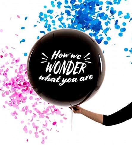 Dilla Co. Jumbo 36 Inch Gender Reveal Black Balloon -