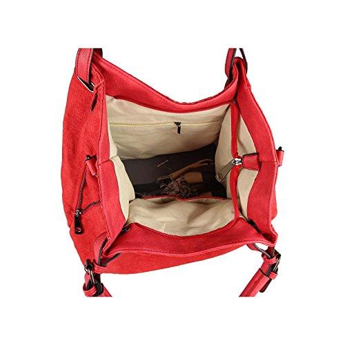 OBC DAMEN XXL TASCHE SHOPPER Handtasche Umhängetasche Henkeltasche Baumwolle Canvas Schultertasche Stofftasche REISE URLAUB (Petrol) Rot eDVuWs
