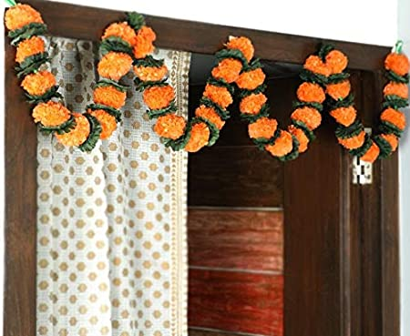Amazon Com Itiha Orange Marigold Genda Floral Toran Door Hanging