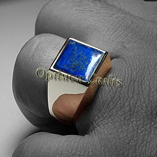 Deep Blue Lapis Lazuli Ring, Mens Art Deco Signet Ring, Handmade 925 Sterling Silver Jewelry, Best Gift for Your Father, Husband, Brother, Anniversary Gift for Him, Mens Wedding Engagement Ring