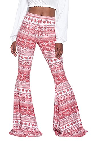 Chuanqi Women's Boho Print Stretch Skinny Bell Bottom Pants Trousers