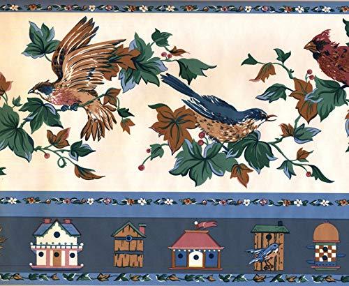 Birds Wallpaper Border Birds Houses Green White Red Classic 753145200069 York Wallcovering 15' x 9.5