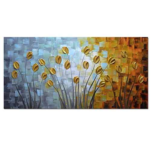 Asdam Art - Oil Paintings on Canvas Budding Flowers 100% Hand-Painted On Canvas Abstract Artwork Floral Wall Art Decorative Pictures Home Decor Gold(24X48 inch)