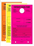 TEMPORARY PARKING PERMIT - Mirror Hang Tags, Numbered with Tear-Off Stub, 7-3/4'' x 4-1/4'', Bright Fluorescent Pink,Yellow and Orange, 50 Per Pack - Triple-Pack (150 Tags)