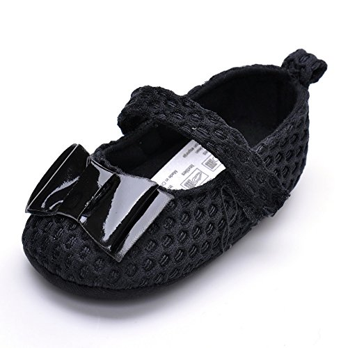 - Baby Girls' Patent Leather Bow Mary Jane Shoes Black US Size 3