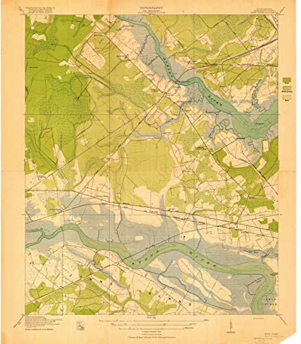 South Carolina Maps - 1919 Johns Island, SC USGS Historical Topographic Map - Cartography Wall Art - 39in x ()