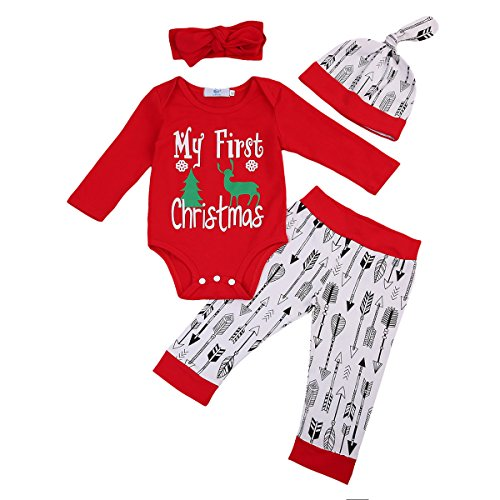 4pcs Baby Boy Girl Christmas Outfit Romper Pants Leggings Hat Clothes Set - 1