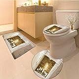 MikiDa Bathroom Non-Slip Rug Set white decorative fireplace candles in Bath Mat Bathroom Rugs
